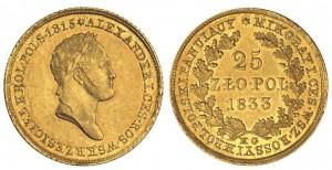 25 злотых 1833 года