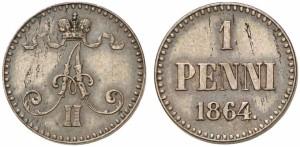 1 пенни 1864 года