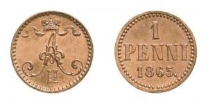 1 пенни 1865 года