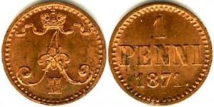 1 пенни 1871 года