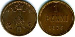 1 пенни 1875 года