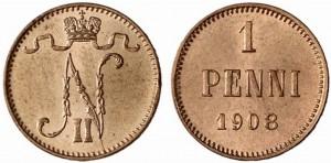 1 пенни 1908 года