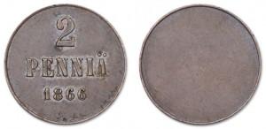 2 пенни 1866 года